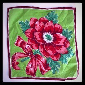 VINTAGE Holiday Handkerchief